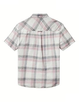 Tommy Jeans Camisa Hombre Check Linen Sleeve Rosa