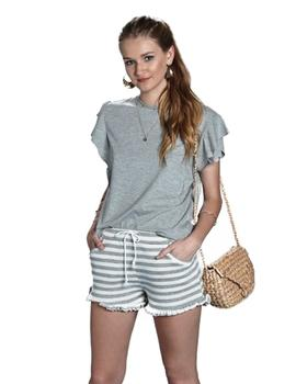 Bicyclette Shorts Mujer Volante Con Rayas Blancas