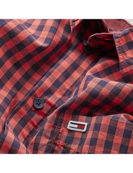 Tommy Jeans Camisa Hombre Gingham Rojo