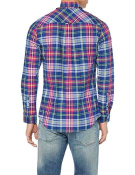 Tommy Jeans Camisa Hombre Essential Big Check Azul Fucsia