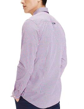Tommy Jeans Camisa Hombre Essential Mid Check Fucsia