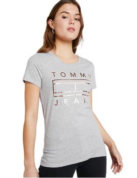 Tommy Jeans Camiseta Mujer Metallic Logo Gris