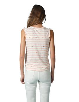 Camisetas Indi And Cold Rayas Blanco Salmon Mujer