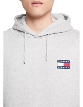 Sudadera Tommy Jeans Badge Hoodie Gris Hombre