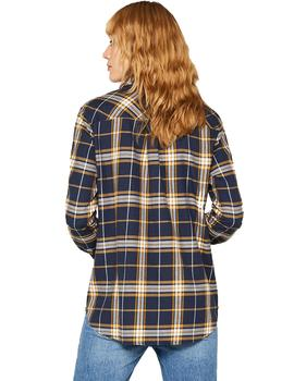 Camisa Mujer EDC By Esprit Soft Flanell Cuadros Marino