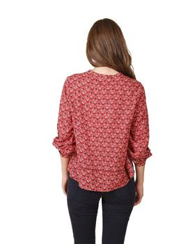 Camisa Mujer Indi And Cold Pico Estampado Corbatero Terracot