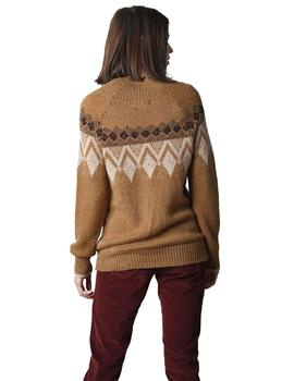 Jersey Mujer Indi And Cold Intarsia Rombos Con Lurex Camel