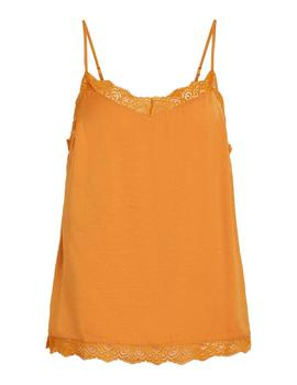 Top Vila Vicava Lace Singlet Noos Golden Oak Mujer