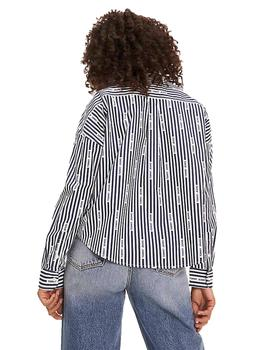 Camisa Mujer Tommy Jeans Logo Stripe Marino Blanco