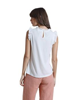 Camiseta Mujer Indi And Cold  Combinada Sin Mangas Crudo