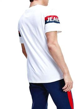 Camiseta Hombre Tommy Jeans Double Stripe Logo Tee Blanco