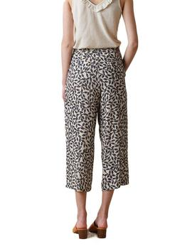 Pantalon Mujer Indi And Cold Crop Fluido Estampado Marino