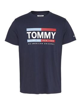 Camiseta Hombre Tommy Jeans Essential Front Logo Tee White