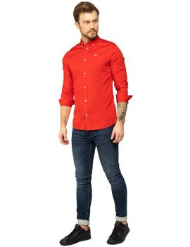 Camisa Hombre Tommy Jeans Light Twill Shirt Rojo