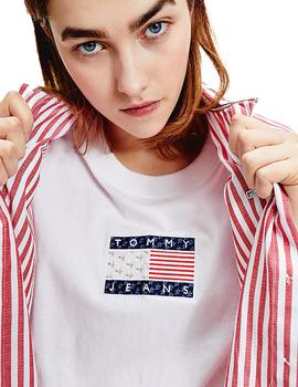Camiseta Mujer Tommy Jeans Star Flag Tee White