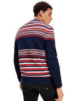 Jersey Hombre Tommy Jeans Structure Mix Sweater Navvy/Multi