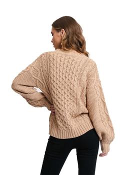 Cardigan Mujer Rut And Circle Carrie Cable Beige