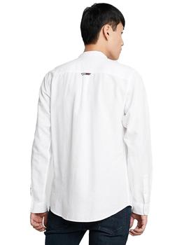 Camisa Hombre Tommy Jeans Mao Linen Blend Shirt White