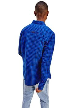 Camisa Hombre Tommy Jeans Essential Gingham Shirt Cobalt