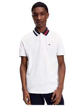 Polo Hombre Tommy Jeans Flag Neck Polo White