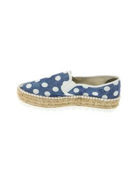 Alpargata Gas Slip On Doble Lona Topos Azul/Blanca