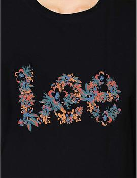 Lee Camiseta Mujer Floral Graphic Negro